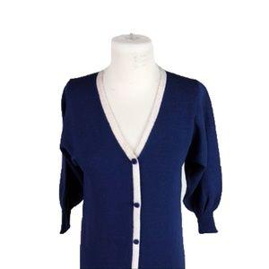 Reve d'Or S Small Vintage Dress Wool Blend Blue
